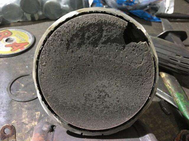 Пример забитого катализатора на дизеле